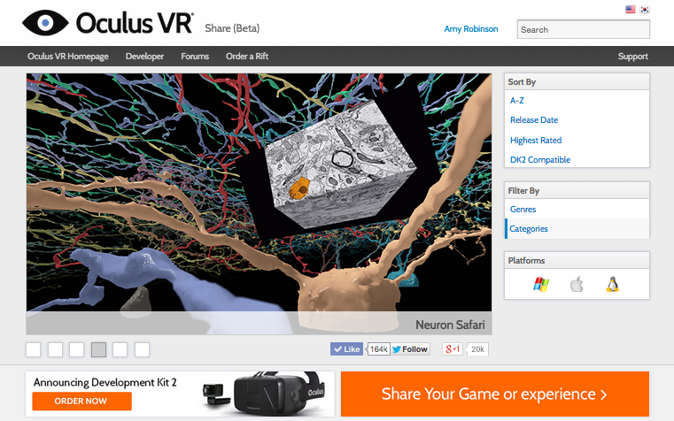 Neuron Safari on Oculus Share