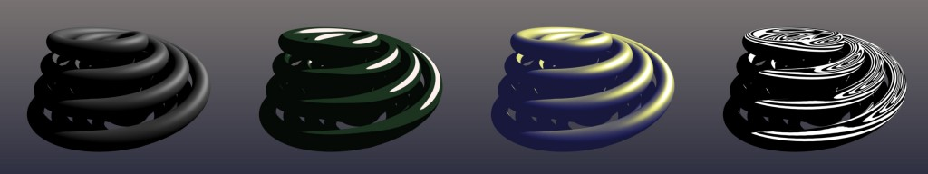 Left to right: Standard Cook-Torrence shading used as input, a toon shaded lookup, a Gooch shaded lookup, and a lighting contour lookup. (click for larger image)