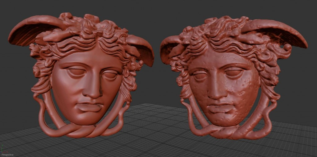 Left: Geometry normals only. Right: Bumpmap adds detail.
