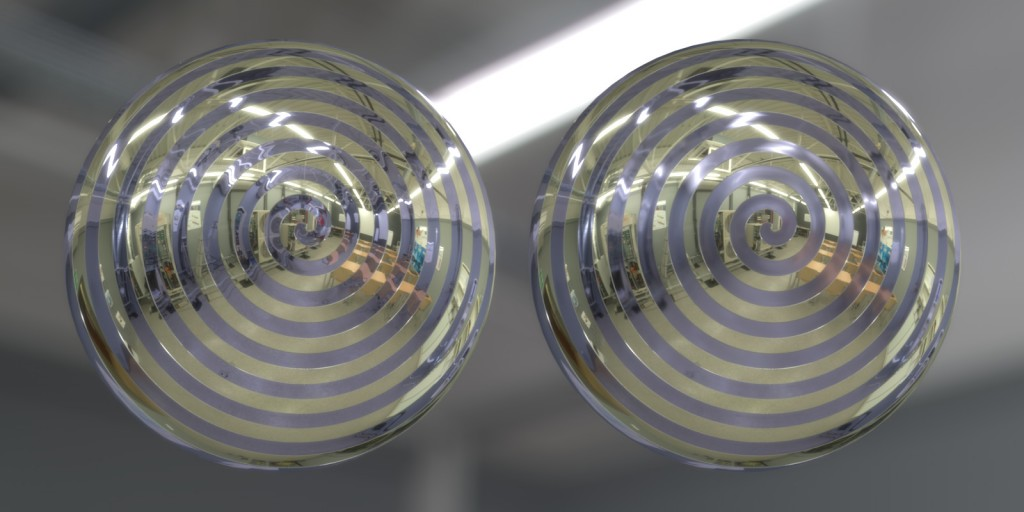 Left: No reflection blur; Right: Reflection blur mapped to increase roughness toward center of spiral (click to enlarge)