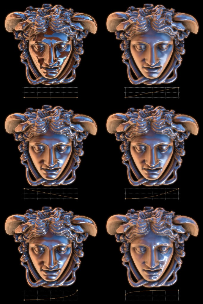 Upper left: Roughness shaping function zeroed out, effectively making a sharp reflection. Upper right: The default roughness shaping function. (click to enlarge)